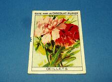 LES FLEURS OEILLETS 2 CHROMO CHOCOLAT PUPIER JOLIES IMAGES 1930