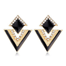Drop Earrings Gold Black Diamante Rhinestone Stud Statement Party Triangle Short