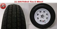 "15"" White Spoke Wheel & ST205/75D15 Bias Trailer Tire 5x4.5 New Free Shipping"