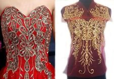 1SET Embroidered Gold Sequins Feather Sewing Appliques Trim Dress Craft WT79