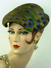 VINTAGE HAT 1950s USA, URBI ET ORBI, PEACOCK FEATHER LADIES 'NEW LOOK' DAY HAT