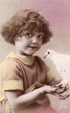 BL265 Carte Photo vintage card RPPC Enfant fantaisie oiseaux Aigle blanc