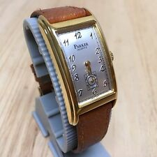 Vintage Parker Men Gold Tone Long Curved Case Analog Quartz Watch Hour~New Batte