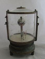 Unusual Antique Vintage Aquarium Fish Desk Clock Cut Glass & Brass