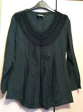 Vintage Indian Cotton Black Smock Blouse Top 8 10 Boho Hippie Festival Folk