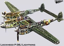 """P38J Lightning Cutaway Poster Military Aviation Mini 11""""X17"""""""