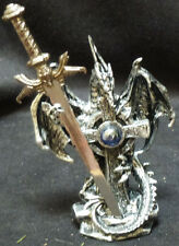 """DRAGON CROSS  with Sword and Blue Crystal   Letter opener Figure Statue H6.5"""""""