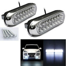 2x Universal 16 LED Car Van DRL Day Driving Daytime Running Fog White Light Lamp