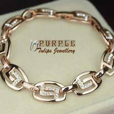 18K 18CT Rose Gold Plated Pattern Bracelet W/ SWAROVSKI CRYSTALS