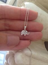 "Solid Sterling Silver Lucky Elephant  Necklace Pendant Handmade 16"" chain"
