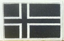 ICELAND Flag Embroidered Iron-On Patch Military BLACK & WHITE  Version