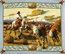 Cattle Drive Cowboy Round-Up Large Quilt Fabric Panel