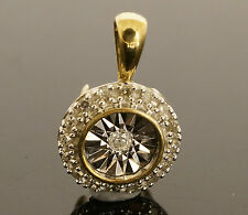9ct Yellow Gold (0.10 TCW) Diamond Illusion Set Halo Solitaire Pendant 8x8mm