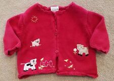 GYMBOREE 0-3 MONTH RED FARM KNIT SWEATER ADORABLE
