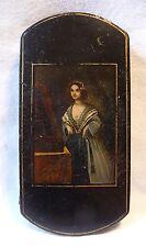 Zigarrenetui um 1850 Minuiaturportrait feine Dame in der Art von Stobwasser