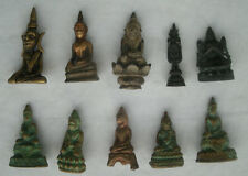 10 old small Buddha statues from Thailand and Cambodia