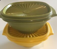 Set of 2 Tupperware Servalier 840 Avacado and Yellow Bowls with Handles