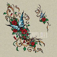 9 x LARGE  Assorted Temporary Tattoos - Dragon Butterfly Flowers, Fairy  RRP $54