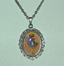 FILIGREE PURPLE FAIRY & FLOWER PINK VICTORIAN STYLE SILVER PLATED CAMEO PENDANT