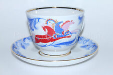 Russian Imperial Lomonosov Porcelain Tea Cup & Saucer Winter, Troika Three Horse