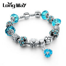 Silver Glass Beads Bracelet With Blue Crystal European Charms Fit Women P