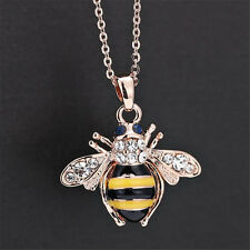 Chic Cute Women Ladies Honey Bumblebee Bee Crystal Pendant Chain Necklace SE