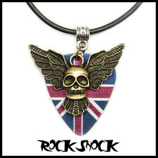 Angel of Rock N Roll Teschio Chitarra Scegli Collana Bandiera UK Inglese ROCKERS Devil