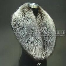 LUXURY GENUINE SIlVER FOX FUR ORIGINAL COLOR SCARF STOLE COLLAR WRAP SHAWL