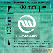 To fit Williams F1 fan Race Car Sticker Decal 100x100mm x1 white reverse clear