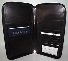 ili Leather RFID Zippered Passport Case Ticket ID Travel Wallet Holder 7506 BLK