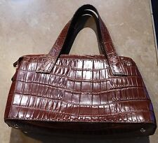 120  Fossil Brown Faux Alligator/ Croc Pattern Leather Handbag Purse