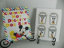 Disney Mickey Mouse Card Stock Hot Diggity Bar Sign & 4 Precut Condiment Labels