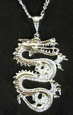 JUMBO SILVER DRAGON PENDANT CHAIN NECKLACE new mens women fantasy jewelry chains