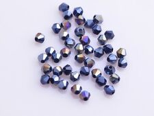 Wholesale 200pcs 4mm Bicone Faceted Crystal Glass Loose Spacer Beads Black AB