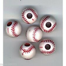 Beads PLASTIC BASEBALL Craft Bead ~ 12mm Round ~ Red & White ~ Package of 12