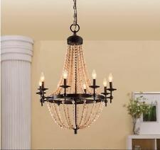 Rustic Antique Style Chandelier 8 Light Beaded Black Metal Modern Contemporary