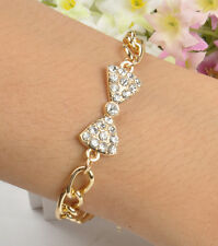 Retro Gold Chram Cute Bow Crystal Alloy Bling Chunky Chic Curb Chain Bracelet