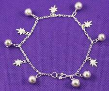 Unusual Solid 925 Sterling Silver, Ring Ball, Leaf Charms Bracelet / Bangle