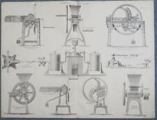 c1868 AGRICULTURAL MACHINES CORN CRUSHER STRAW CUTTER Large ENGRAVING Print