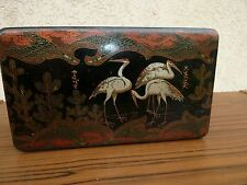 1870 FRENCH JAPANESE BIG LACQUER BOX PAPER MACHE SEWING COTTON with GEESE CRANES
