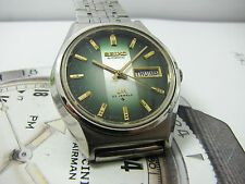 NICE & RARE VINTAGE SEIKO LM LORD MATIC 5606 AUTOMATIC GREEN DIAL GENTS.