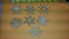 """SNOWFLAKE Ornament LOT unfinished - Laser cut - Lot of 7 - 2.5"""" size- xmas craft"""