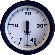 "Faria Euro White 4"""" Tachometer - 4,000 RPM (Diesel - Mechanical Takeoff & Var R"
