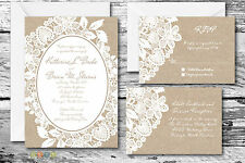 100 Burlap & Lace Rustic Wedding Invitation Suite with Envelopes