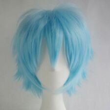 Unisex Men Women Short Wig Japanese Cosplay Anime Full Straight Wig Black Blonde