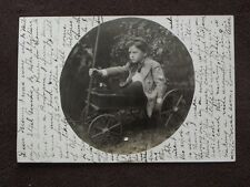YOUNG BOY SITTING IN TOY WAGON -  REAL VTG  1900's PHOTO POSTCARD
