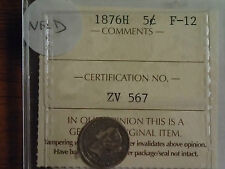 ICCS CERTIFIED F-12 NEWFOUNDLAND 1876H 5-CENT COIN