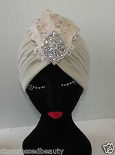 Nude Cream Silver Feather Turban Vintage Flapper 1920s 30s Headpiece Crystal Q16