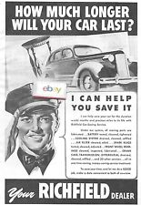 RICHFIELD OIL GASOLINE 1940 HOW MUCH LONGER WILL YOUR CAR LAST? HELP SAVE IT AD