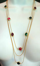 VINTAGE LAYERED GOLDTONE FAUX STONE CRYSTAL NECKLACE ESTATE JEWELRY  AVON